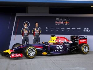 Infiniti Red Bull Racing drivers Sebastian Vettel of Germany, left, and Daniel Ricciardo of Australia, right, attend the launch of their new RB10 Formula One car at the Circuito de Jerez on Tuesday, Jan. 28, 2014, in Jerez de la Frontera, Spain. AP